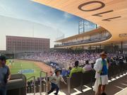 A rendering of the concourse area behind home plate at the new Lowertown Ballpark, which is scheduled to open in spring 2015.