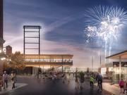 A rendering of what the main Broadway Avenue entrance at the new Lowertown Ballpark will look like.