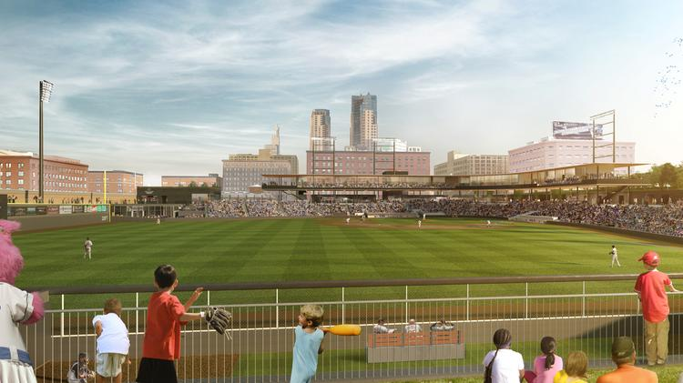 A rendering of the skyline view from the outfield at the new Lowertown Ballpark.