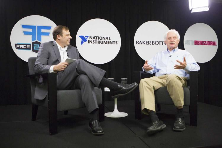 James Truchard, right, CEO of National Instruments, addresses the audience Tuesday during his Dec. 5 Face to Face interview at Whole Foods headquarters with Austin Business Journal editor Colin Pope.