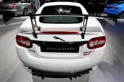 The rear of a Jaguar Land Rover Plc XKR-S GT vehicle is seen on display at the company's booth