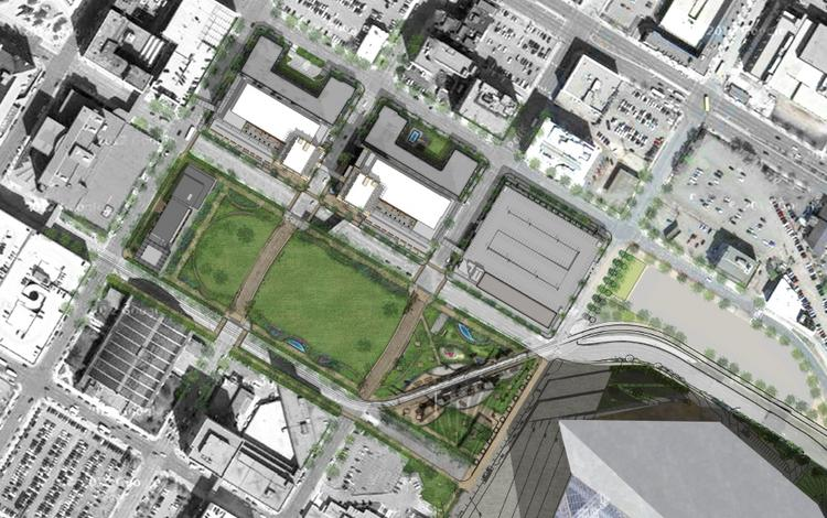 A rendering from Ryan Cos. US Inc. of the downtown east development site plan.