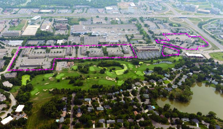 Hillcrest Development owns the land outlined in purple,  Pentagon Park. Edina may close the neighboring Fred Richards Golf Course.