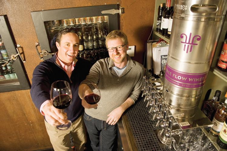 The kegs produce a consistently better glass of wine, say Dan Donahoe (left) and Jordan Kivelstadt of Free Flow Wines.