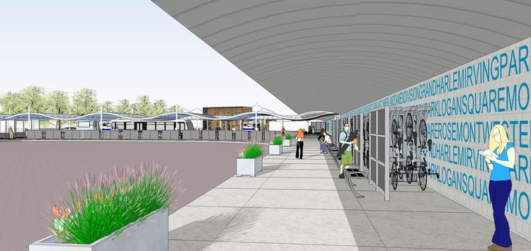"A rendering of what the busy Jefferson Park station on the Chicago Transit Authority Blue Line will look like after ""Your New Blue"" renovations are complete."