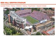 University of Florida City:  Gainesville Population:  126,047 Median income:  $30,143 Stadium/capacity:  Ben Hill Griffin Stadium (88,548) Football revenue:  $74.8 million Football coach/total pay:  Will Muschamp ($2.7 million)   Ohio State University City:  Columbus Population:  809,798 Median income:  $40,463 Stadium/capacity:  Ohio Stadium (102,329) Football revenue:  $70.9 million Football coach/total pay:  Urban Meyer ($4.6 million)