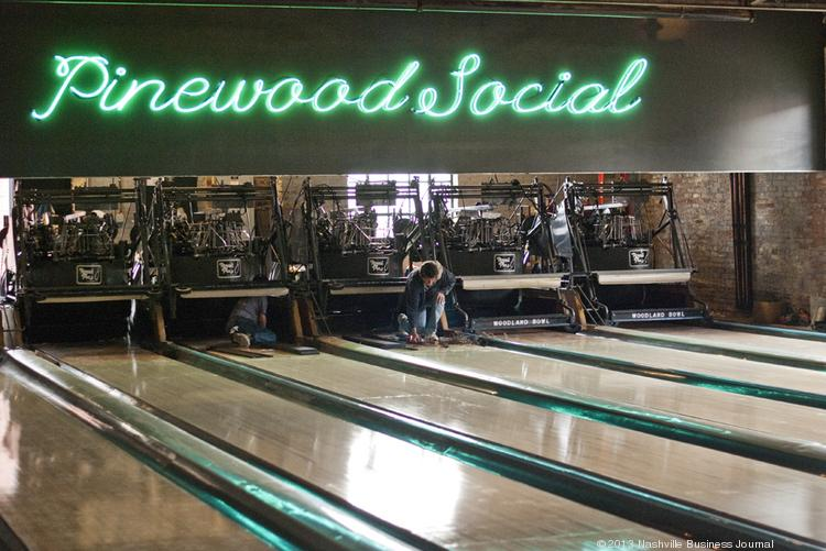Pinewood Social opened late last year in the old Trolley Barnes off of Peabody along the Cumberland River.