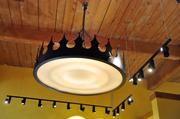 Tupelo Honey commissioned this chandelier to capture Charlotte's Queen City spirit.