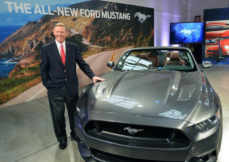 """Ford Motor Co. CEO Alan Mulally is shown with the all-new 2015 Ford Mustang, which was unveiled on """"Good Morning America"""" Thursday."""