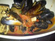 Steamed mussels with chorizo, rosemary and white wine