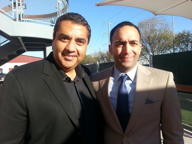 Chef Michael Mina (left) will open a new restaurant at the 49ers stadium in Santa Clara. He and 49ers COO Paraag Marathe have been friends since the 2008-2009 season. Mina's tailgate parties over the years became culinary mini-events, the men said.