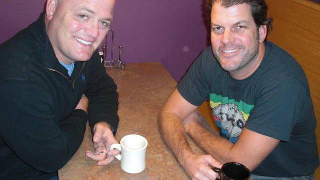Sandy McIlree, left, and JB Hager, right, have found a new spot on Austin's airwaves, anchoring a morning drive-time show for the new Fringe Austin radio station.