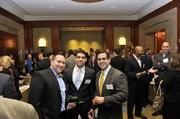"Attendees take a break from networking to pose for a photo at the Fast 50 event, held at the Ritz-Carlton. Left to right are: Clint Watson, Antonio Sotillo, Julio Sotillo. To obtain digital files or prints for your own use, send an email to nancy@nancypiercephoto.com with ""Fast 50"" in the subject line."