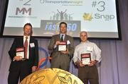 "Representatives of the top three companies based on highest total revenue growth from 2010 to 2013. Left to right: No. 2, Movement Mortgage, accepted by Matt Schoolfield; No. 1, Transportation Insight, accepted by Reynolds Faulkner; and No. 3 SnapAV, accepted by Scott Anstrom.To obtain digital files or prints for your own use, send an email to nancy@nancypiercephoto.com with ""Fast 50"" in the subject line."