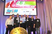 "Representatives from Recycling Equipment Inc. with their No. 24 award.To obtain digital files or prints for your own use, send an email to nancy@nancypiercephoto.com with ""Fast 50"" in the subject line."