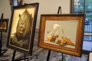 Amazing pieces of art are set up around the entire hotel. That dog is strangely calm sitting next to a lion.