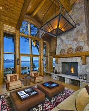 Inside features a fireplace and views of Lake Tahoe.