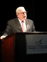 """The Dulles Regional Chamber of Commerce recognized the best businesses in the region at its """"Stars Over Dulles"""" gala, which raised more than $20,000 for the USO of Metropolitan Washington. U.S. Rep. Gerry Connolly,D-Va., addresses the gala on transportation and other issues important to the region."""