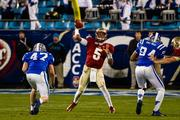 Florida State quarterback Jameis Winston lets fly with a long pass.