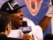 Florida State quarterback Jameis Winston is fired up after winning most valuable player in the Dr Pepper ACC Football Championship Game.