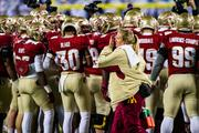 Florida State players get fired up before the game.