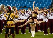 The Florida State marching band performs.
