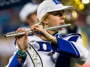 The Duke marching band performs at halftime.