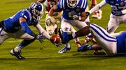 Duke players scramble for a Florida State fumble. Duke would recover, but the top-ranked Seminoles still came out on top.