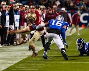 Florida State tight end Nick O'Leary goes out of bounds after a catch and run.