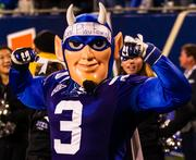 Duke's mascot shows optimism despite being down by a big score in the second half.