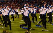 Duke's marching band does a funky routine at halftime.