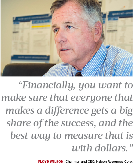 Floyd Wilson, CEO of Halcon Resources, on compensating his employees once he sells a company. Wilson said when he sold Petrohawk to BHP he made 100 employees millionaires.