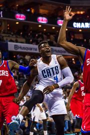 Charlotte Bobcats forward Jeff Adrien looks for a rebound.