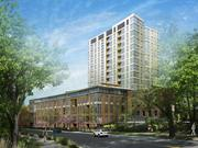 An artist rendering of 105a South Huntington, a 195-unit apartment complex in Jamaica Plain.