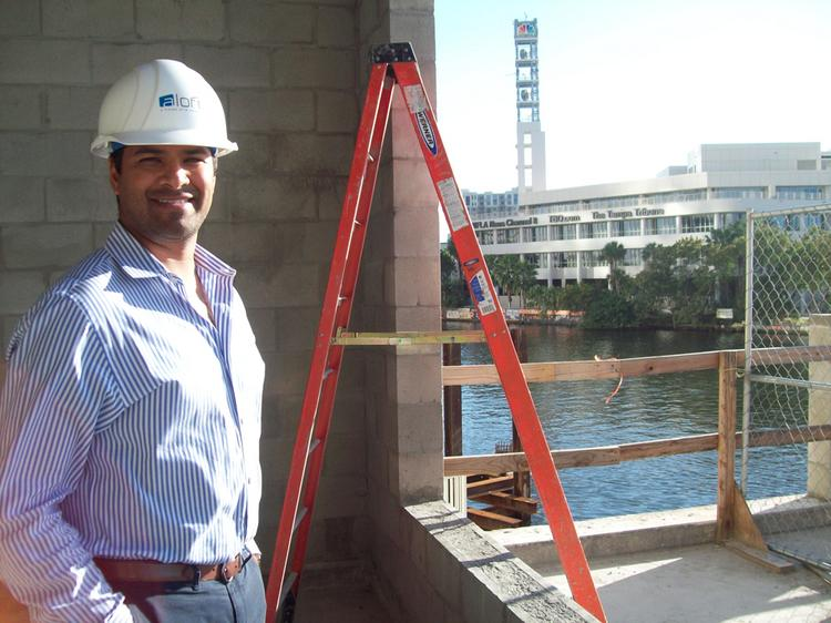 Liberty Group CEO Punit Shah at the future site of the Aloft gym.