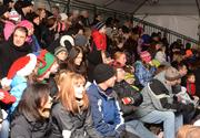 Some Holidazzle spectators stayed warm in tents along the Nicollet Mall route.