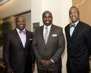Living Stone International Church Pastor Michael Key, California Urban Partnership president and CEO Malaki Seku-Amen and Kevin Christophe of Progress Consulting, pose at the Sacramento Black Chamber of Commerce gala.