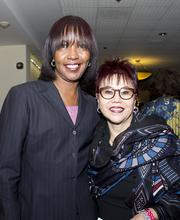 Velma Skyes of VSykes1 Marketing & Public Relations Services and California Capital Women's Business Center director Deborah Lowe Muramoto pose at the Sacramento Black Chamber of Commerce gala.
