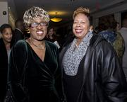 California Black Chamber of Commerce vice president of operations Delores Thompson and JL Staffing director of staffing Betty Williams pose at the Sacramento Black Chamber of Commerce gala.