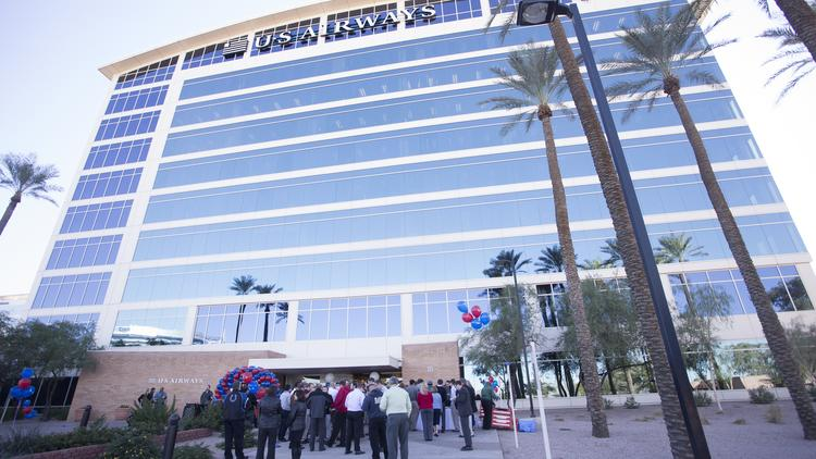 US Airways' Tempe headquarters building is now home to American Airlines operations after the two U.S. carriers merged in December.