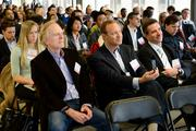 SwitchPitch, a role-reversal event that allows corporations to pitch their project needs to qualified startups, was held March 21 at 1776 in downtown D.C. From left, John Sculley of Open Peak, David Steinberg of Exhilarator and Devin Schain of CampusMD.