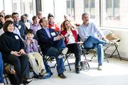 SwitchPitch, a role-reversal event that allows corporations to pitch their project needs to qualified startups, was held March 21 at 1776 in downtown D.C. Front row, from left, Helena Goldstein, Oliver Goldstein, Michael Goldstein of SwitchPitch, Sita Vasan of SwitchPitch, and AOL co-founder Steve Case.