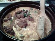 Aura's ramen was loaded with noodles, fish cake, short ribs and an egg.
