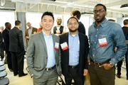 SwitchPitch, a role-reversal event where corporations to pitch their projects to qualified startups, was held March 21 at 1776 in downtown D.C. From left, Ted Meng, with Jamal Williams and Christian Benjamin, both of 12.26 Studios.