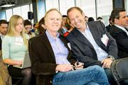 SwitchPitch, which allows corporations to pitch their projects to startups, was held March 21 at 1776 in downtown D.C. John Sculley of Open Peak, left, and David Steinberg of Exhilarator.