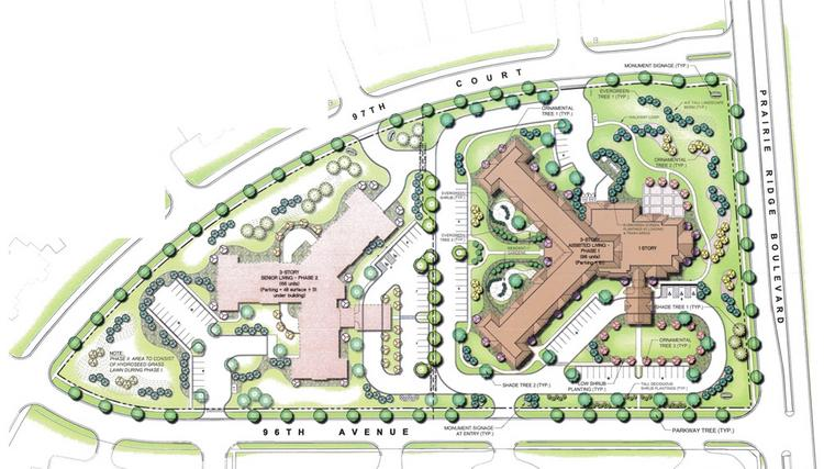The project would have two buildings for seniors, the first of which would offer assisted living care.