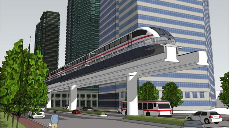 Rendering of the proposed Maglev rail, a magnetic-levitation train system that would connect Orlando International Airport to the Orange County Convention Center.