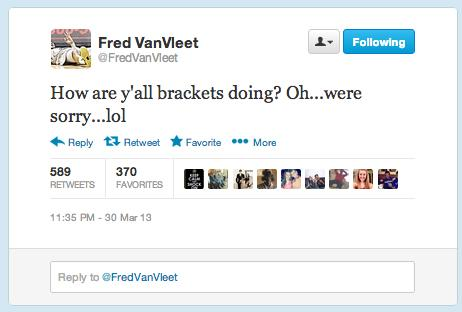 Tweet from player Fred Van Vleet.