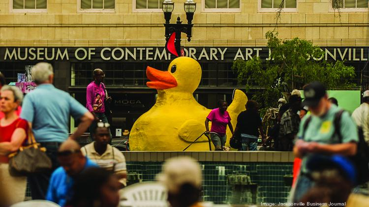 As part of the One Spark Festival, a large Yellow Duck floated in the water gardens of Hemming Plaza.