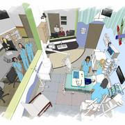 The Alverno College expansion includes building two additions totaling 63,500 square feet of space. One of the new spaces replicates a mini-hospital with an observation area and control area along with a maternity, pediatric and home health care area.